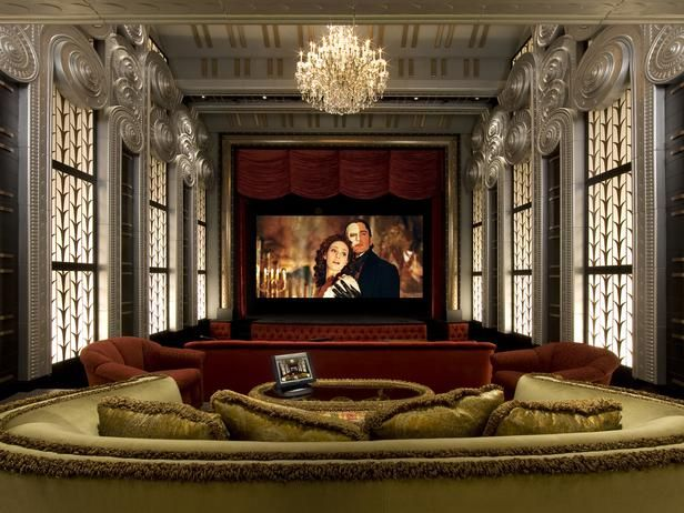Curtains Ideas art deco curtains : Art-Deco Home Theater with Red Curtains | HGTVRemodels.com | Home ...