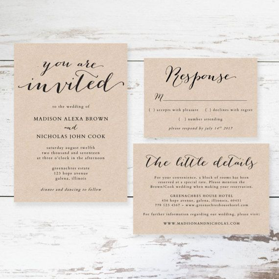 Rustic Wedding Invitation Template  Printable Wedding