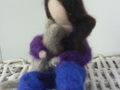 Needle Felted Sculpture 'Love my Cat'
