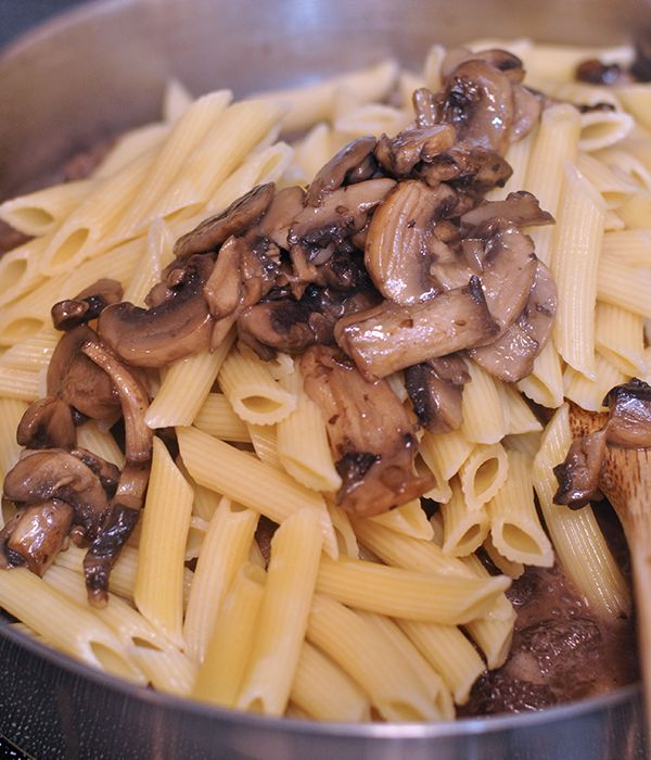 This leftover prime rib pasta has chunks of medium rare roast beef tossed with bow tie pasta in a creamy, red wine mushrooms sauce.                                                                                                                                                                                 More