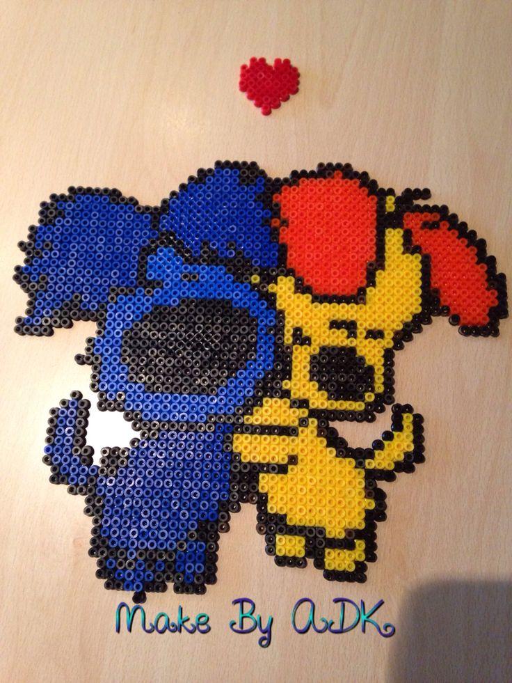 Woezel en Pip. Gemaakt van strijkkralen. Gemaakt door ADK