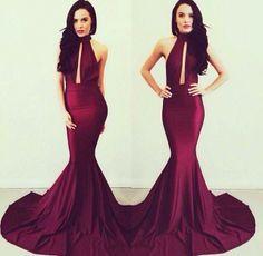 dark maroon long dress tight high neck - Google Search | prom ...