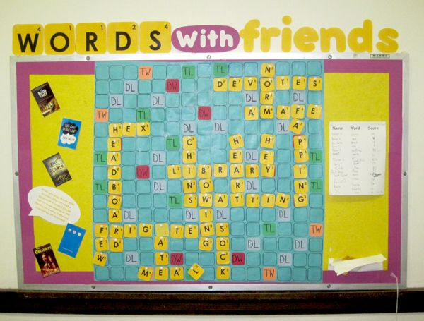 Make interactive: Have a letter pouch.  Classes can play against each other (In Spanish!)   Each word played must also be illustrated and posted.  http://www.uni.illinois.edu/library/blog/blog_images/wordswithfriends.jpg