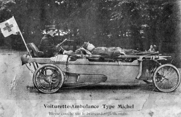 WWI French Cyclecar ambulance
