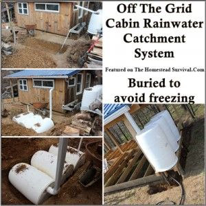 Here is one approach (method) of an off the grid rainwater catchment system and underground storage to supply an off the grid cabin with water. By burying it underground the earth will warm it enough to avoid freezing. System size needs to be determined by square footage of roof catchment area, annual rainfall  water …