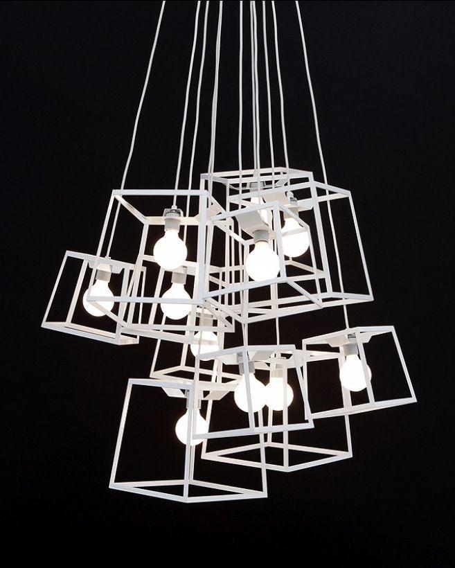 Frame Light Chandelier: minimalistic white | lighting