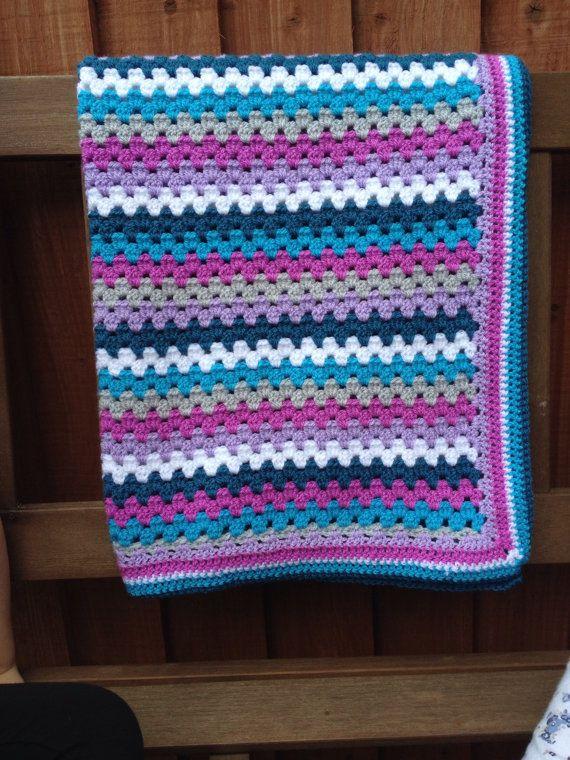 Granny stripe crochet blanket kit 'India'  purple and by Jamborel