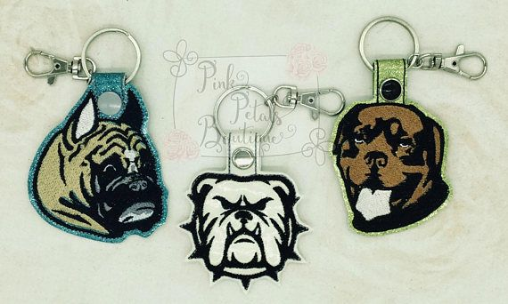 DOGS Snap Tab Key Fobs  Boxer Bulldog and/or Rottweiler