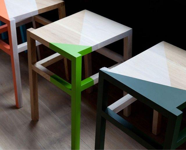 : Colors Pop, Blocks Chairs, Paintings Ideas, Paintings Stools, Wood Stools, Yoobi Branding, Industrial Design, White Paintings, Colors Blocks