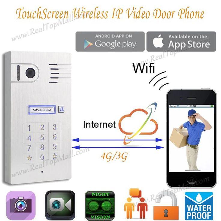 Touch IP wifi global video door phone WiFi intercom system two way intercom and remotely unlock door, wireless intercom system