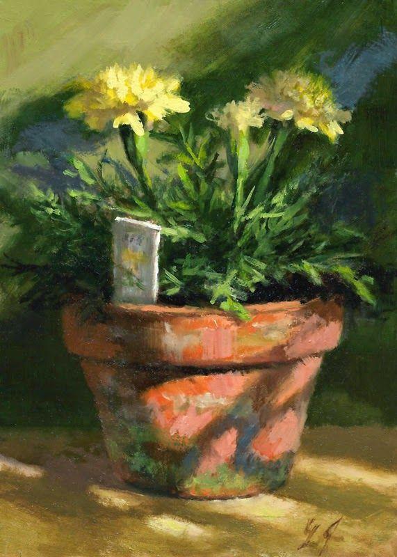 """Linda's Witness in Art: """"Marigolds in Morning Light"""" oil 5x7 SOLD"""