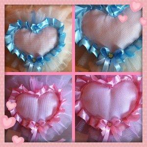 Fiocco nascita tela aida e tulle azzurro o rosa