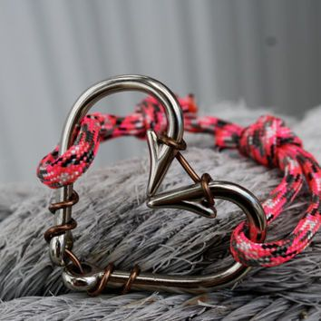 Silver heart fish hook bracelet with pink from Coastal Creations