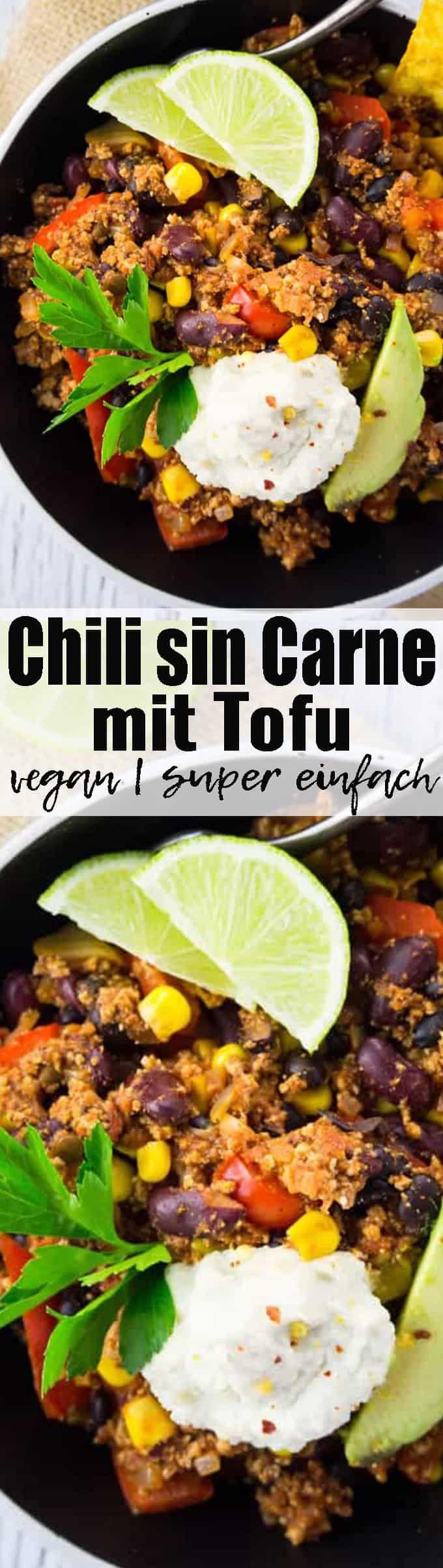 Dieses Chili sin Carne mit Tofu und Kidneybohnen ist eine richtige Proteinbombe! Vegan und super einfach zuzubereiten! Gesunde Rezepte können so lecker sein! Mehr vegane Rezepte auf veganheaven.de !  via @veganheavende