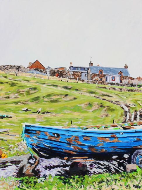 Stenness Acrylic on canvas 40x30 inches Jeff Wilson August 2014  This depicts a croft house and what may be a sixareen fishing boat. Stenness was an important haaf (deep-sea) fishing station in the 18th and 19th century, with up to 40 boats operating from here in the summer.