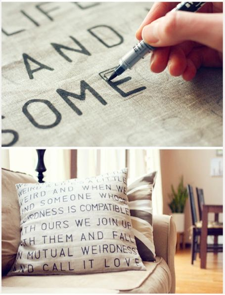 Learn how to letter linen to make a pillow Tutorial and 45 BEST Charming Lifestyle DIY & Tutorials EVER. From MrsPollyRogers.com