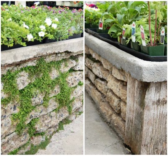 Garden wall / retaining wall - reused concrete blocks...Great idea for the fallen wall n our backyard that was here when we moved in!