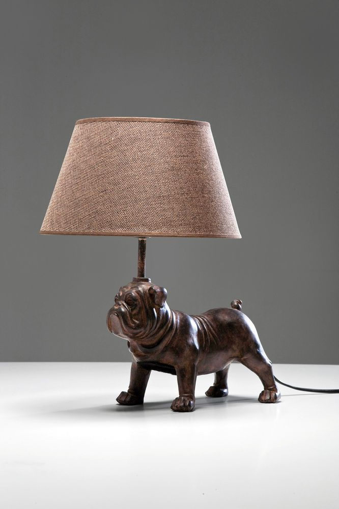 Brown Pug Dog/ Bull Dog Table Lamp with Brown Lamp Shade