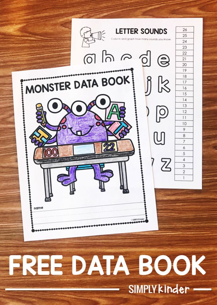 Help your students track their growth with this free student data book from Simply Kinder. Track how many letter sounds they know, how fluently they read, how many sight words they know, and so much more!