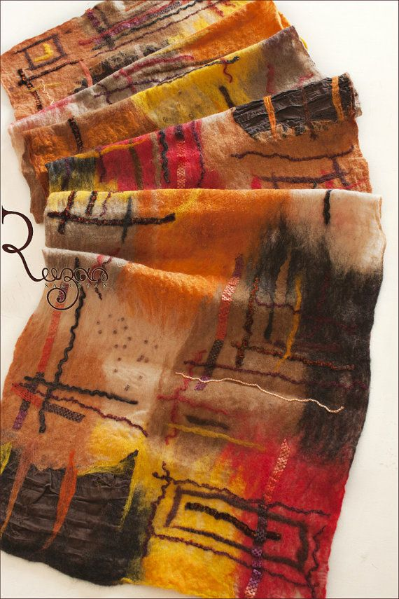 Felted shawl - Brown Orange Yellow Autumn by Ryan Sargsyan
