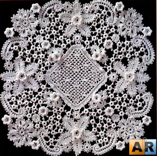 Irish crochet doily: This is beautiful! This would take forever to make, though.