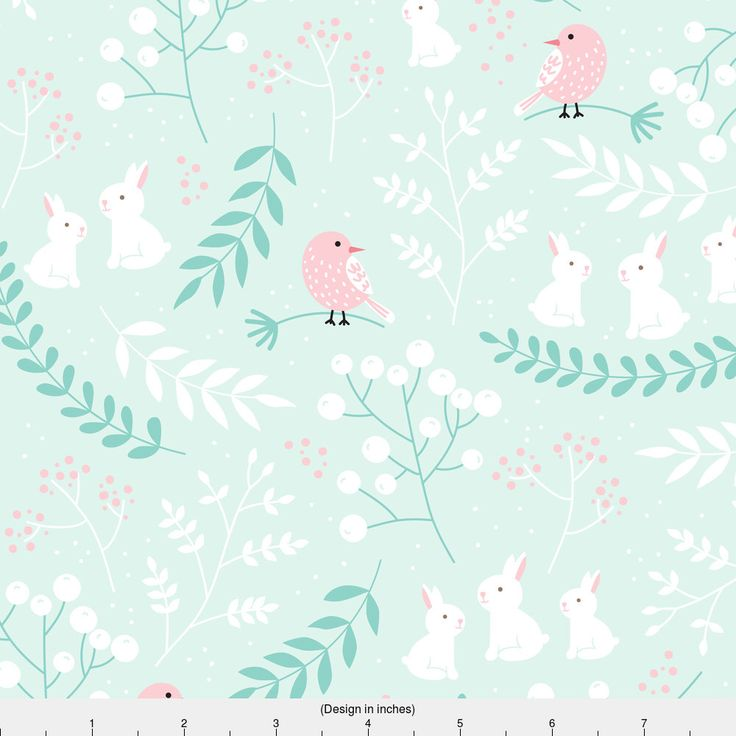 Rabbit Fabric - Rabbits And Birds By Innamoreva - Sweet Bunny Rabbit on Mint Nursery Decor Cotton Fabric By The Yard With Spoonflower by Spoonflower on Etsy https://www.etsy.com/listing/488538000/rabbit-fabric-rabbits-and-birds-by