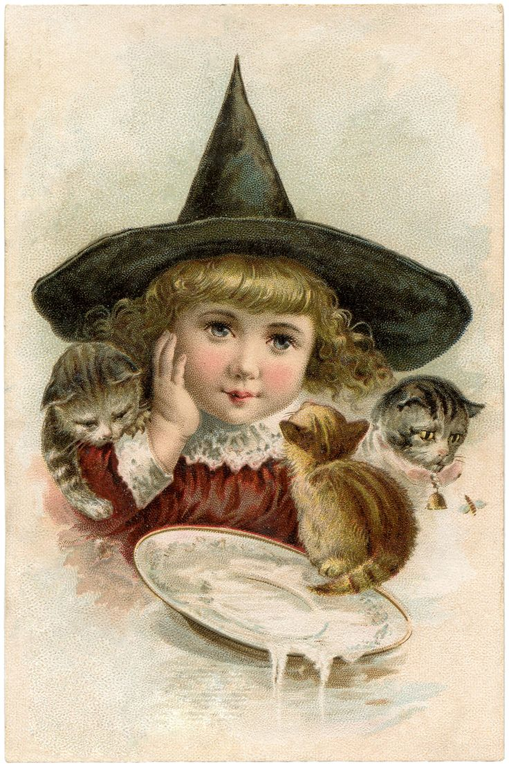 images of vintage little girls with hats  | Vintage Halloween Clip Art – Precious Little Witch