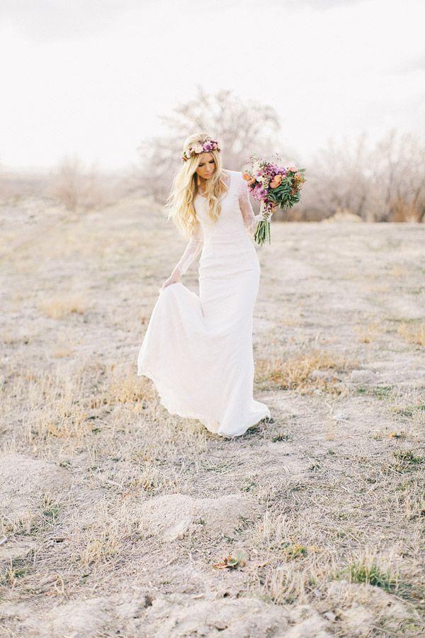 Lace Long Sleeves Bohemian Wedding Dress Beach Wedding Gowns Bohemian Style Wedding Dresses