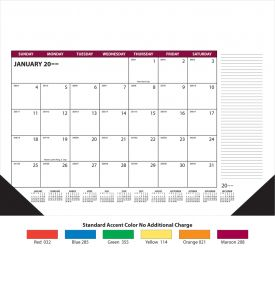 Product: 14D300 2018 Desk Pad 12-Sheet Display-A-Month (Memo) Calendar Basic custom imprint setup & PDF proof included! This 12-sheet Display-A-Month desk pad calendar features large date blocks and ruled lines down the side for memos. This desk pad calendar includes every sheet imprinting & black corners. Calendars are imprinted in black ink, plus the accent color chosen for the calendar.Skinner Kennedy / SK50-E