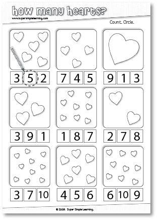 How Many Hearts? Counting worksheet for Preschool/Kindergarten.