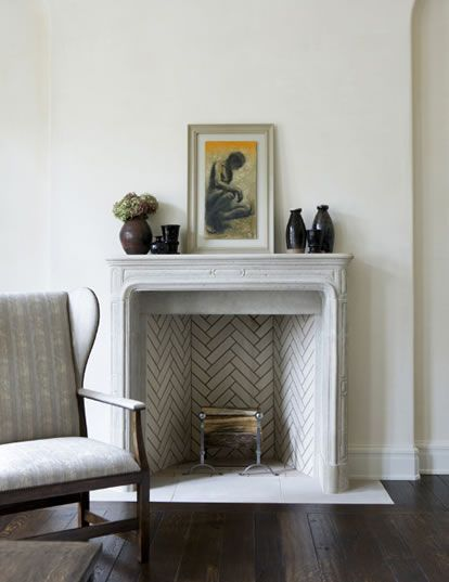 herringbone fireplace... brilliant... love the clean white and grey palette too, with just a subtle hint of yellow and charcoal