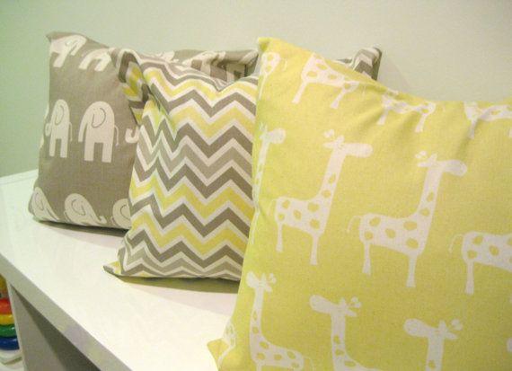 Chevron Pillow Cover -16 x 16 Yellow Taupe & Grey , Baby Room Decor, Throw Pillow, Decor, Nursery Decor, Modern Baby via Etsy