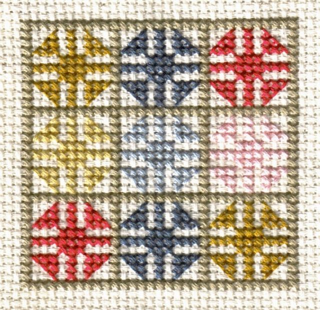 Free Friendship Quilt Counted Cross Stitch Patterns - Free Printable Charts: Stitched Model of the Free Friendship Quilt Block Pattern - Cross Stitch Photo