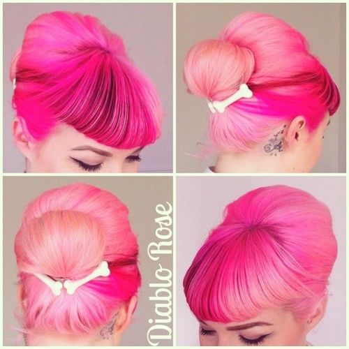 Diablo Rose. Retro pastel pink rockabilly updo with bangs.