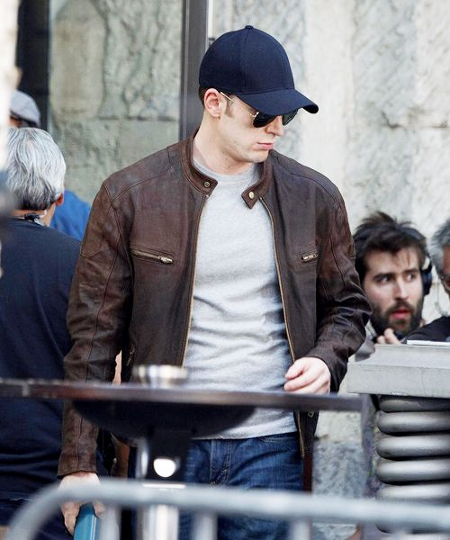 Chris Evans on the set of 'Captain America: Civil War' in Berlin, Germany (August 8, 2015)