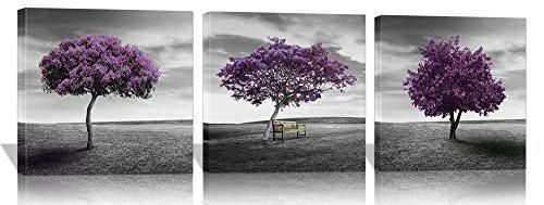 Eden Art 3 Panels Purple Trees Pictures Prints on Canvas Walls Paintings Modern Giclee Art Work for Home Office Decor Stretched and Framed Artwork Each Piece 16x16 Inch
