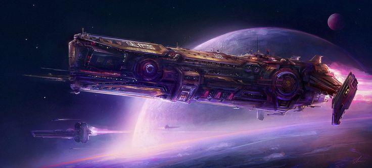 """""""Galypsos"""" by #SebastienHue.  #sciencefiction #scifi #spaceship"""
