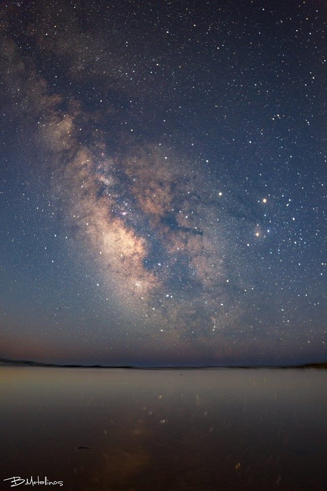 The Milky Way Galaxy above lagoon Korission, Corfu. Photo by: Bill Metallinos. #GreenCorfu - greencorfu.com - https://pinterest.com/greencorfu/