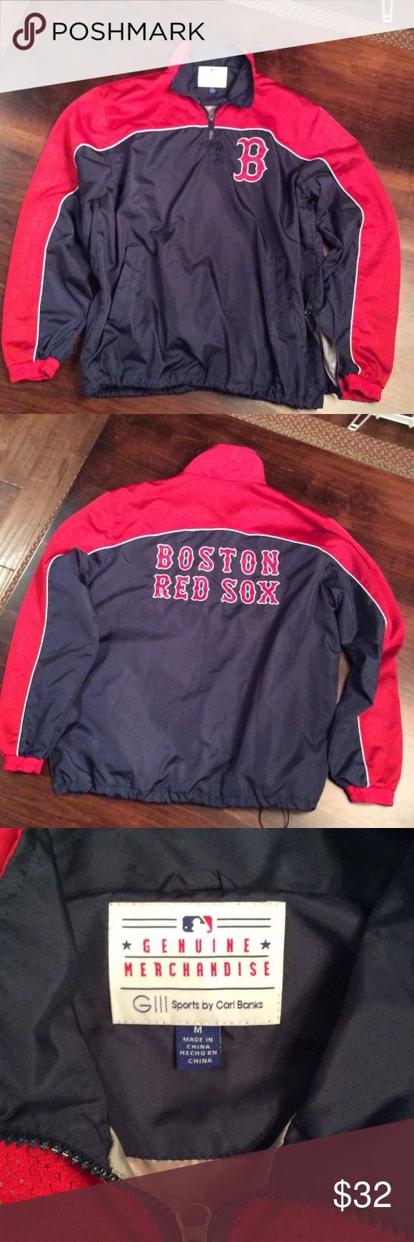 Boston Red Sox half zip pullover size M, EUC. Lined zip up pullover with front pockets and zip on one side. Features adjustable cinch waist. EUC,  it smoking home. Next day shipping. Genuine Merchandise Jackets & Coats Windbreakers
