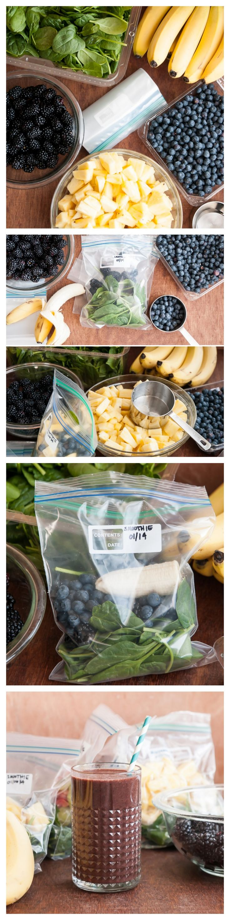 MAKE A MONTH OF GREEN SMOOTHIES IN AN HOUR ........ Easy steps to prepare make-ahead frozen smoothie packs....