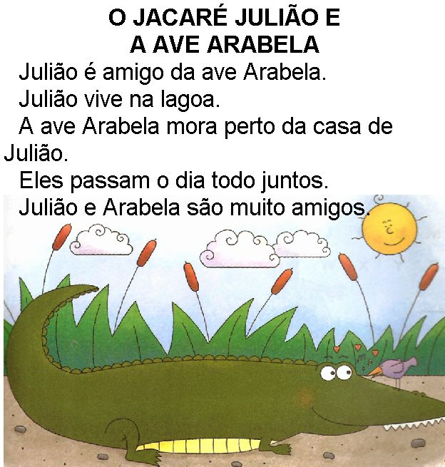 Texto O jacaré Julião e ave Arabela, de Elisângela Terra