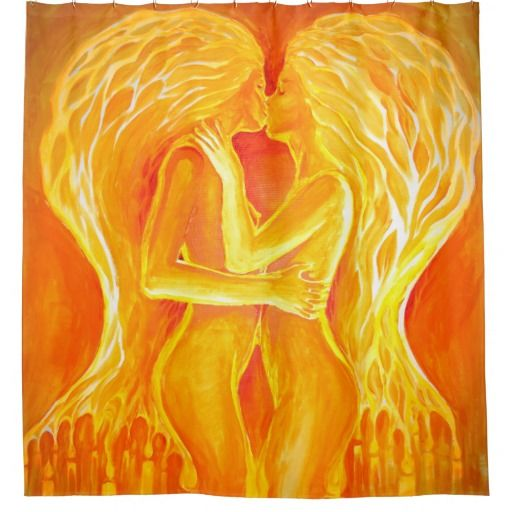 Flames of love and passion shower curtain