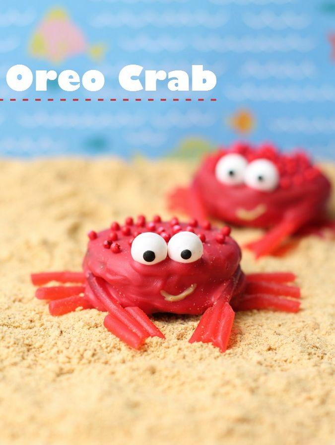 Cute orea crabs make for a fun and sweet treat for kids! Ingredients: Oreo's, Candy Eyes, Pull N' Peel Twizzlers, Red Candy Melts, Red sprinkles (optional).