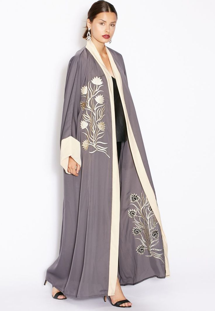 Shop Hayas closet grey One Side Embroidered Abaya for Women in UAE