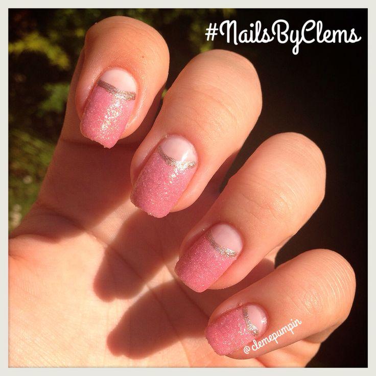 "Hi there! This is my entry for @sally_hansen #nailart challenge #NailArtNov with this #halfmoon #manicure  used @sally_hansen polishes: #satinglam ""Go Gold"" and #sugarshimmer ""Sugar Plum"" for extra #texture  Hope You like it! #sallyhansen #gold #pink #nails #notd #nailsdid #nailswag #nailartwow #naildesign #nailartclub #nailartchile #nailsbyclems #nailartjunkie #uñas #unhas #unhasdasemana #liquidsand #glam #chic #classy"