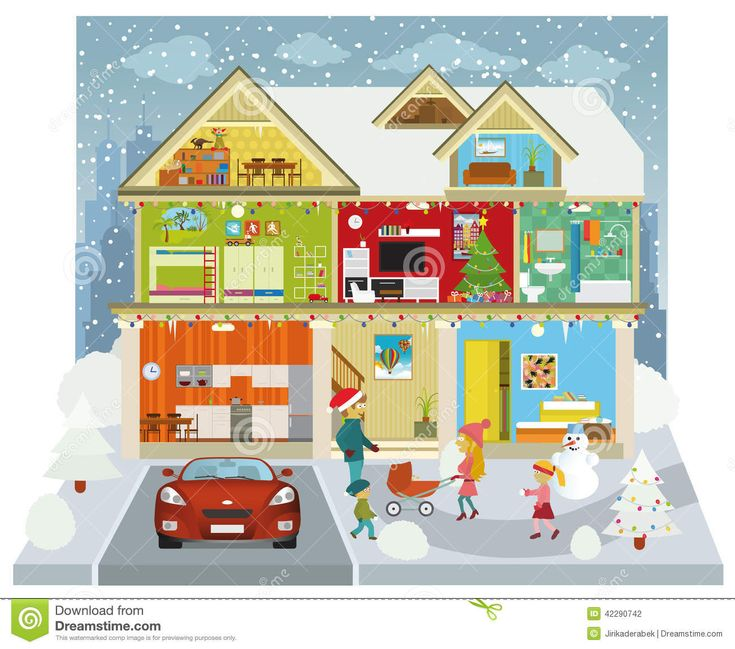 House Cross Section Clipart Inside the house winter
