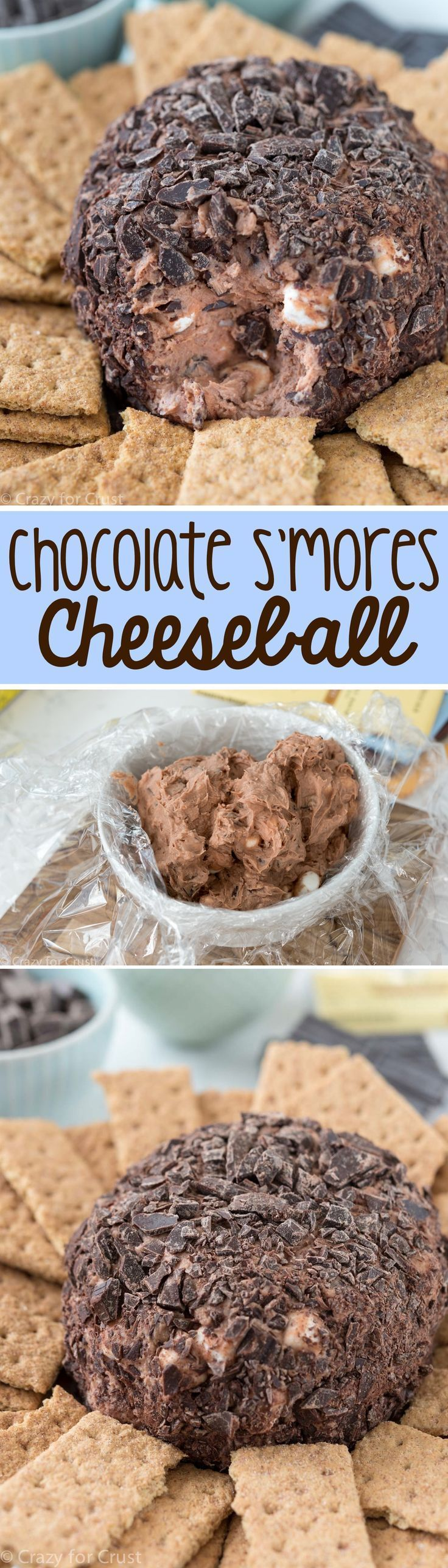 Chocolate S'mores Cheeseball Dip - this easy recipe is a perfect dessert for…