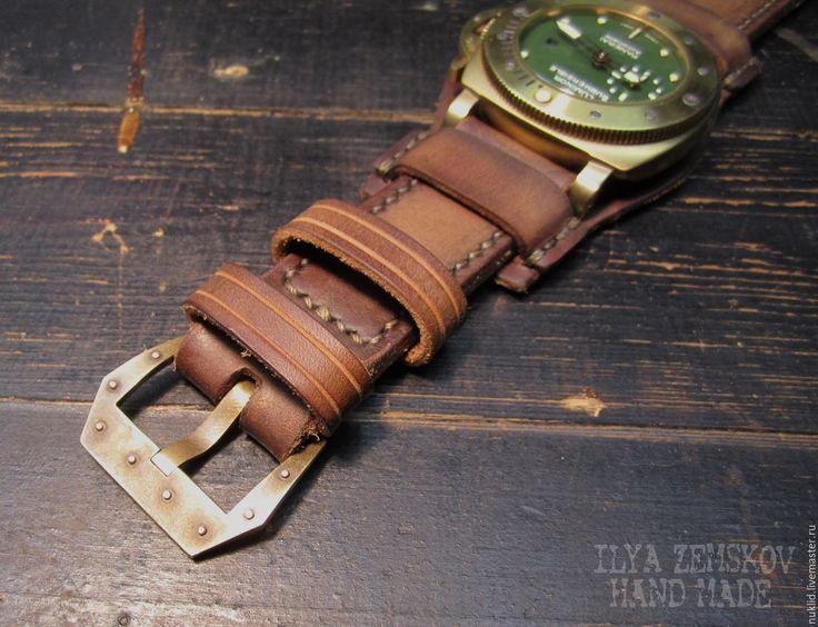 Купить Кожаный ремешок для часов Panerai - коричневый, для часов, ремешок для часов, кожаный ремешок