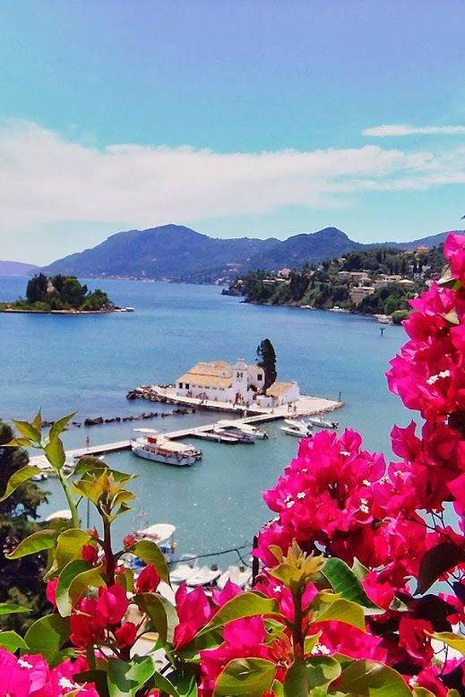 Corfu (Kerkyra Island) - Greece. The little island is called Pontikonisi (mouse isle). We couldn`t visit that little church bec we were going to swim so we weren`t properly dressed