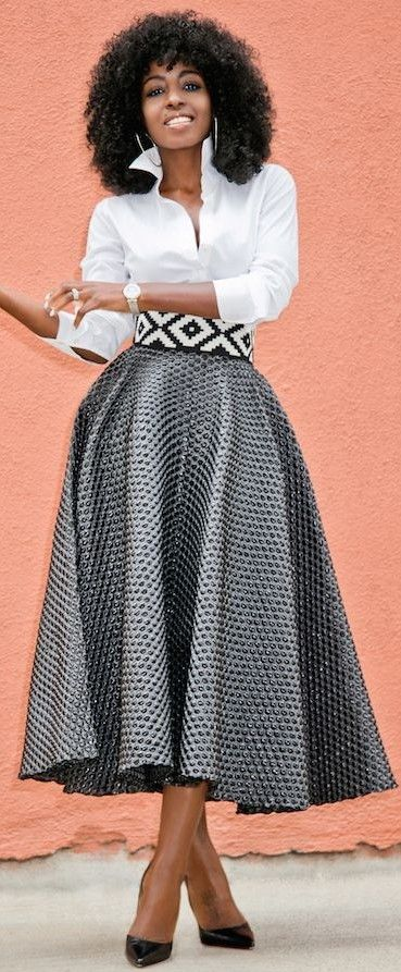 #spring #trends #fashionistas #outfitideas | White Button Down + Textured Tea Long Skirt | Style Pantry                                                                             Source